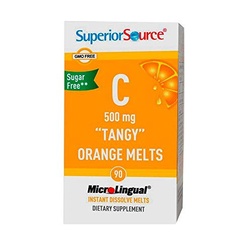Superior Source Vitamin C 500 mg Sublingual Tablets - Buffered Vit C Tangy Orange Melts - Immune System Booster, Energy Vitamins - 90 Count