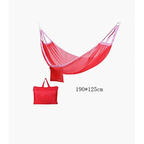 Hamac Outdoor hamac camping camping balançoire hamac hammock alpinisme maille rouge hamac en polyester hamac portable (sac de rangement * 1), (190 * 125cm)