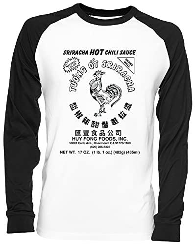 Sriracha Hot Chili Sauce Natural Color Blance Camiseta De Béisbol Unisex Tamaño S White Baseball tee Tshirt Unisex Size S