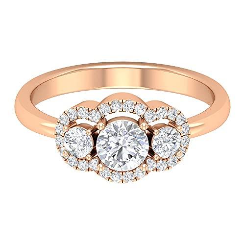 Anillo de halo de diamante de 1 quilate, Anillos de Pasado Presente Futuro para Mujer (5 mm, punta redonda de diamante), 14K Oro rosa, Size:EU 60