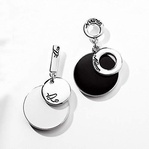 Asymmetrische oorbellen/geometrische ronde hanger / S925 hypoallergeen/prikken zonder piercing vrouw meisje/vakantie bruiloft