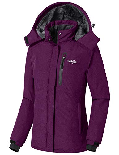 Wantdo Women's Waterproof Skiing Jacket with Detachable Hood Purple, Medium
