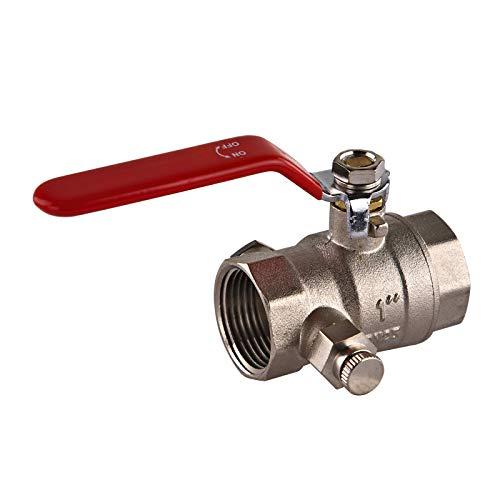Stabilo-Sanitaer Kugelhahn 1 Zoll DN25 mit Entleerung für Wasser Messing Kugelventil Absperrventil Heizung Absperrhahn Entlüftung