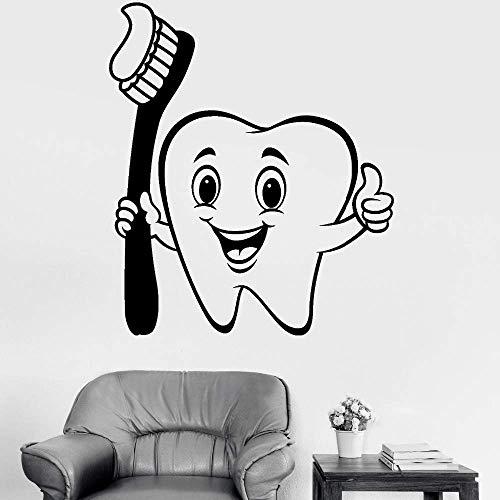 Leuke Vinyl Muursticker Positieve Cartoon Tandenborstel Home Decor Mural Dental Care Decal Badkamer Decoratief Behang 42 * 49cm