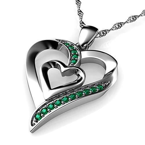 DEPHINI – Collar de corazón – Plata de ley 925 – Colgante de corazón doble amor – Cristales verdes CZ – Joyería fina collar de mujer – Cadena de plata chapada en rodio – Circonita cúbica A+