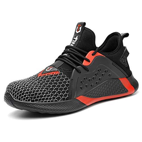 Zapatos de seguridad para hombres/mujeres gorras de dedo del pie de trabajo transpirables entrenadores y zapatillas de deporte, color Rojo, talla 43.5 EU