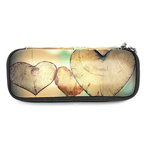 Estuche de piel para lápices con diseño de corazón con texto en inglés 'Love Romance'