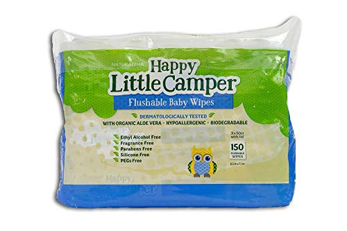 Happy Little Camper Natural Flushable Wet Wipes with Aloe Vera and Vitamin E, Chlorine-Free, Gentle, Hypoallergenic and Dermatologically Tested, Septic Safe, Blue, Unscented, 150 Count