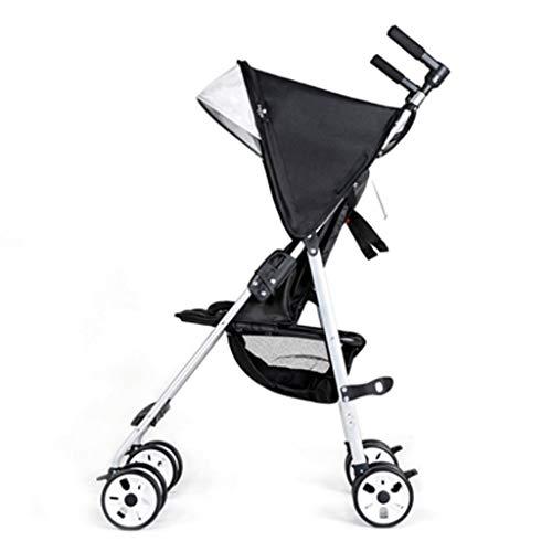 ZYM Cochecito de bebé del Carro de la muñeca Cochecito Plegable con los direccional Cerradura y la Cesta Ultraligero Viaje Cochecito (Color : Black)