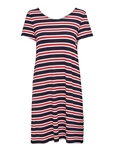 Only Onlbera Back Lace Up S/s Dress Jrs Noos Vestido, Multicolor (Cloud Dancer Stripes: Red and Blue Stripes),...