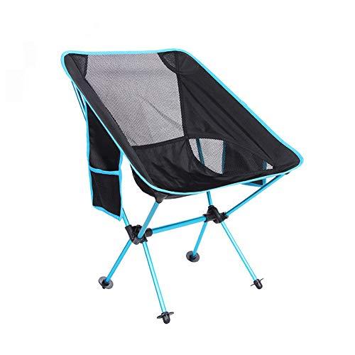 ZHHAOXINFC Draagbare opvouwbare campingstoel, rugzak Vissen Strand Picknick Stoelen Lichtgewicht Lage Heavy Duty Outdoor Draagbaar met Draagtas voor Wandelen Reizen Lichtgewicht, Blauw