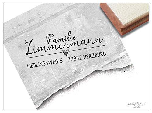Stempel Individueller Adressstempel mit Herz - Familienstempel personalisiert Name Adresse, Geschenk Hochzeitsgeschenk - zAcheR-fineT