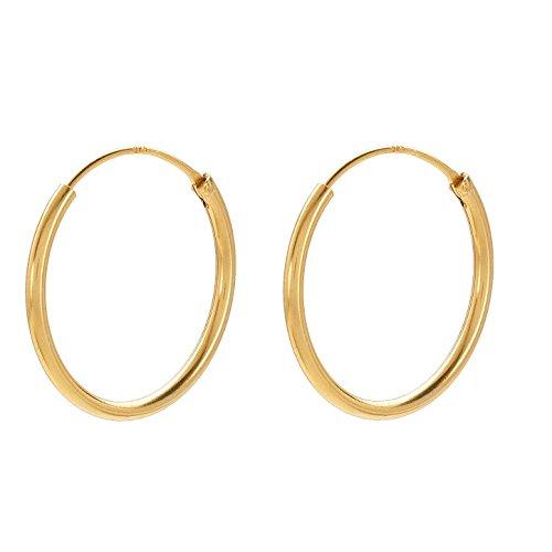 Creolen Damen Gold - PERNILLE CORYDON runde Ohrringe 925er Sterling Silber vergoldet - E141g