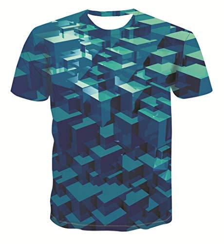 Heren 3D Printed Tops Tees Trend T-shirt met korte mouwen Grappige Jongens Mannen T-shirt met korte mouwen Top Tee Blouse Geometrische kubus Groen Hawaiian Beach T-Shirts