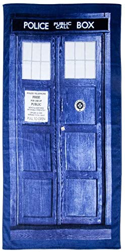 Doctor Who Tardis Door Cotton Beach or Bath Towel (59' Long x 29 1/2' Wide)