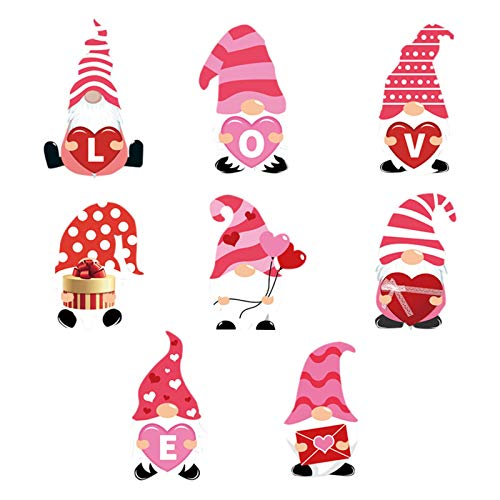 Valentine's Day Gnomes Decoration Outdoor Garden Lawn Yard Signs Ornaments Dwarf Faceless Doll Love Heart Cupid Garden Sign for Weddings, Anniversaries, Engagement Parties Red