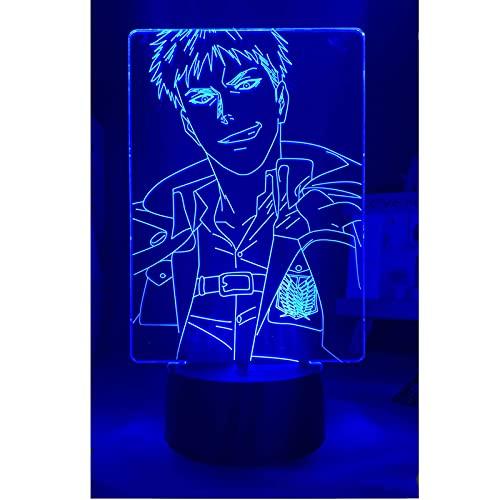 LSSJJ Lámpara de anime Attack on Titan 3D Jean Kirstein para decoración de dormitorio, regalo para niños ataque a Titan LED noche luz (control remoto 16 colores, toque 7 colores)