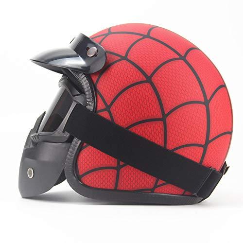 ZYW Klassische Helm PU-Leder Helm 3/4 Motorradfahrradhelm Geöffnet Vintage Motorradhelm Retro Helm Handgemachte Leder Persönlichkeit Helm,Style 3,M
