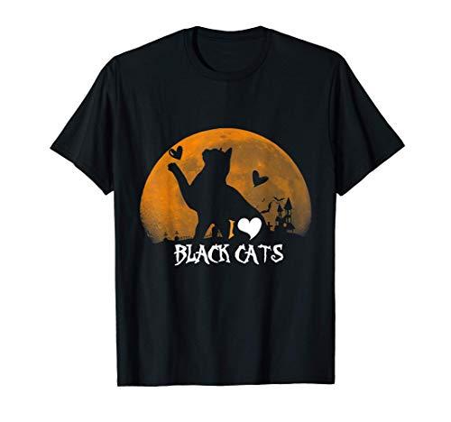 Disfraz de luna de amor de gatos negros lindos de Halloween Camiseta