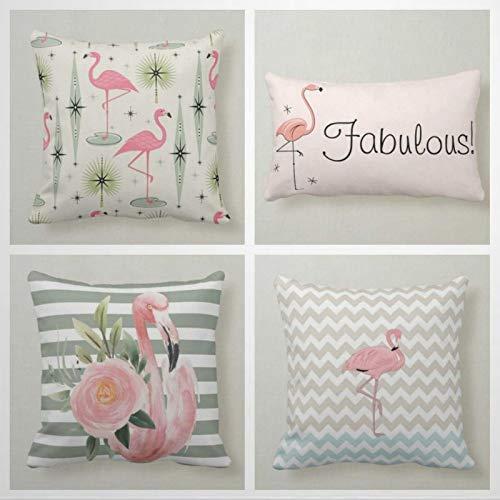 Kiss Cervical Juego de 4 fundas de almohada de flamenco, de 18 x 18 cm, auténticas fundas de almohada de flamenco, decoración del hogar para sofá