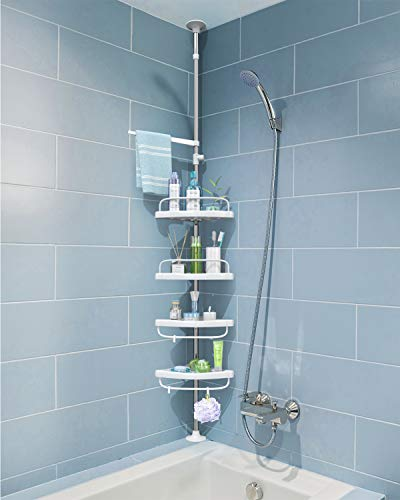 ADOVEL 4 Layer Corner Shower Caddy Adjustable Shower Shelf Constant Tension Stainless Steel Pole Organizer Rustproof 33 to 98ft