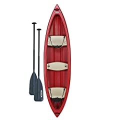 Three (3) molded-in seats provide additional floatation and seating for up to 3 Paddlers. Bow and stern seats include Quick-Release seatbacks Comfortable luggage-style handles for easy transportation. High initial stability hull design UV-Protected b...