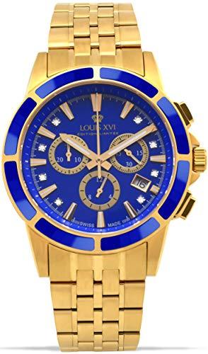 LOUIS XVI Herren-Armbanduhr Majesté Stahlband Gold Blau Keramik Chronograph Analog Quarz Edelstahl 1105