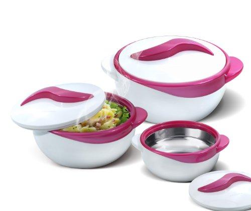 Pinnacle Servierschüssel für Salat/Suppenteller – Thermo-Schüssel mit Deckel – tolle Schüssel für den Urlaub, Abendessen und Party, 3 Stück, Violett