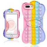 Mulafnxal Funda para iPhone 6 Plus/6S Plus/7 Plus/8 Plus 5.5',Silicona Suave Gracioso Diseño Lindo,Fidget Cover Carcasa Antiestrés Moda para Chicas Niñas para iPhone 6/6S/7/8 Plus(Bubble Bow)