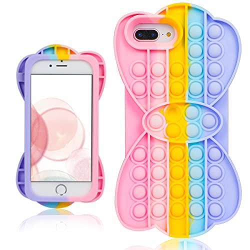 Mulafnxal Custodia per iPhone 6 Plus/6S Plus/7 Plus/8 Plus 5.5',Cartone Animato Carino Moda Morbida,Fidget Antiurto Cover Casi per Bambini Ragazze Ragazzi per iPhone 6/6S/7/8 Plus(Bubble Bow)