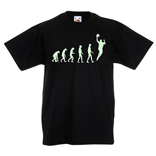 lepni.me T-Shirt per Bambini Evolution Basketball - Street Basket, Adoro Questo Gioco, Grande Regalo per i Fan (12-13 Years Nero Fluorescente)