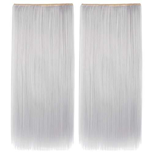 MapofBeauty 2 pièces 24 Pouce/60cm Belle Longue Clip Droit Dans Le Postiche d'extension De Cheveux (Argent Gris)