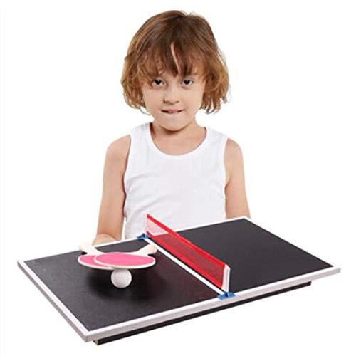 WXH Kompakte Tischtennisplatte, Mini-Mehrzwecktischtennisplatte mit Netz und Schläger, Indoor- / Outdoor-Tischtennisplatte, ideal für kleinere Räume, platzsparendes Design