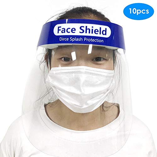 Mascarilla antiniebla10Piece Full Face Mask Anti-Drip Anti-Fog Dust Mask Protective Cover Transparent Face Eye Protector Safety Mask Royal Blue