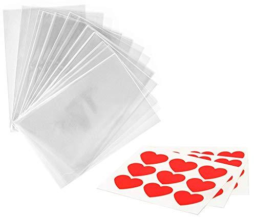 kgpack 100x Bolsas de plástico de celofán Transparente con Pegatinas Corazón 15 x 20 cmBolsitas de Bolsas de plástico para Galletas Galletas Dulces Tortas de Dulces Magdalenas de Chocolate Piruletas