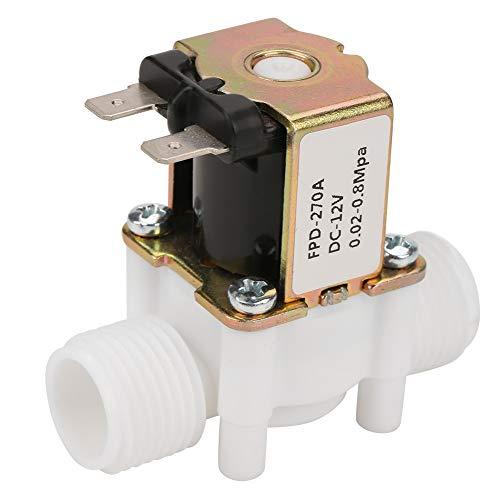Válvula Solenoide, DC 12V G1/2NC Plástico Eléctrico Entrada Eléctrica Válvula Solenoide de Agua para Dispensar Agua, Válvula de Agua del Interruptor de Flujo de Entrada, 0.02-0.8Mpa