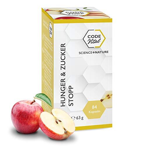 CODE VITAL – HUNGER & ZUCKER-STOPP I Präbiotische Ballaststoffe für die Darmflora I Mit Apfelpektin als Nahrungsquelle für zuckerausscheidende Bacteroidetes-Bakterien im Darm I Vegan I 84 Kapseln