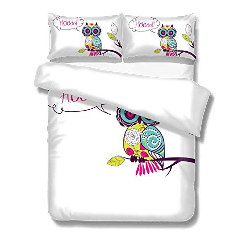 Popun Duvet Cover Set Cartoon Owls 3-Piece Ultra Soft and Easy Care Simple Style Bedding Set