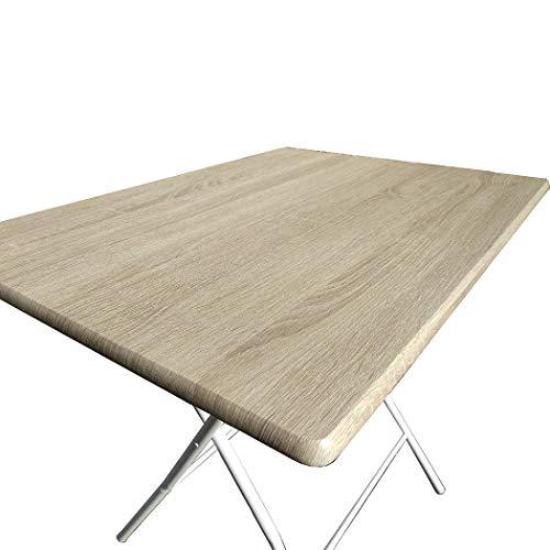 Mediawave Store - Tavolo Bingo 80 Pieghevole in Acciaio Verniciato e Top in Legno 80x60xH72 cm, Perfetto Come Tavolo da Campeggio, da Cucina, Tavolino Esterno Richiudibile (Rovere)