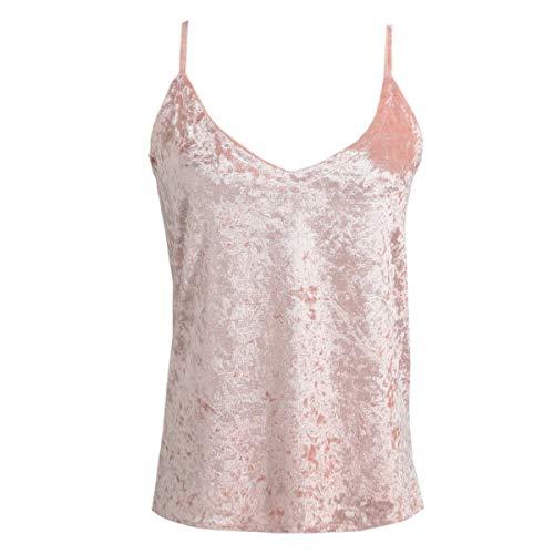Greatangle Modische sexy Frauen Sommer Top Samtgurt Tops Camisole V-Ausschnitt Ärmellose Freizeitweste Elegante Damenbekleidung rosa MM
