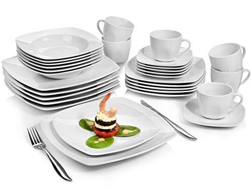 Sänger Kombiservice 'Markant' aus Porzellan 30 teilig | Geschirrset beinhaltet Speise-, Suppen-, Desserttellern sowie passende Tassen (175 ml) und Untertassen | Geschirrservice für bis zu 6 Personen