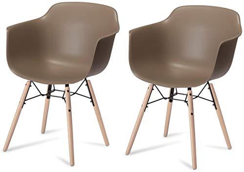 Ibbe Design 2er Set Grau Kunststoff Esszimmerstühle Skandinavisch Retro Schalenstuhl mit Armlehnen Saturn, Natur Massivholzbeinen L57xB57xH97 cm