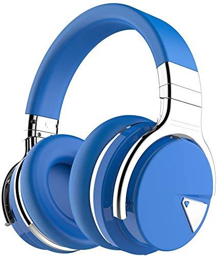 Tapela E7 Auriculares con cancelación Activa de Ruido Bluetooth con micrófono Auriculares inalámbricos de Graves Profundos sobre la Oreja, Azul