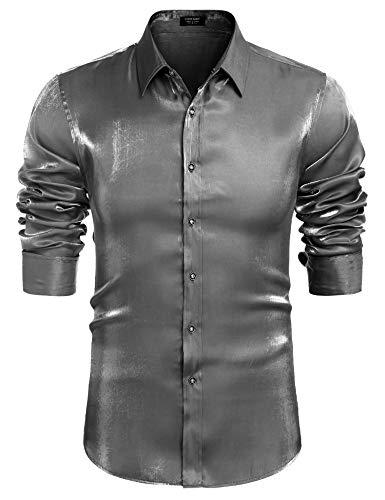 COOFANDY Camisa de lujo con solapa de manga larga para hombre, ajustada,...