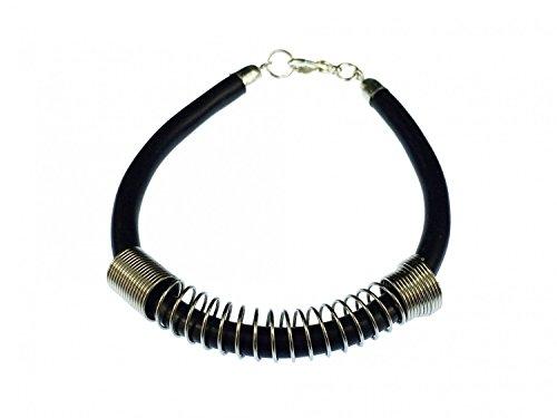 Miniblings Kabel Feder Armband Armband Upcycling Recycling Kabel schwarz Silber