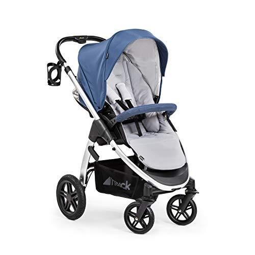 Hauck Saturn R All-Terrain Sportwagen + Beindecke, drehbar, bis 25 kg, XL Verdeck, Getränkehalter, höhenverstellbar, kompakt faltbar, kompatibel mit Babywanne & Babyschale, blau silber