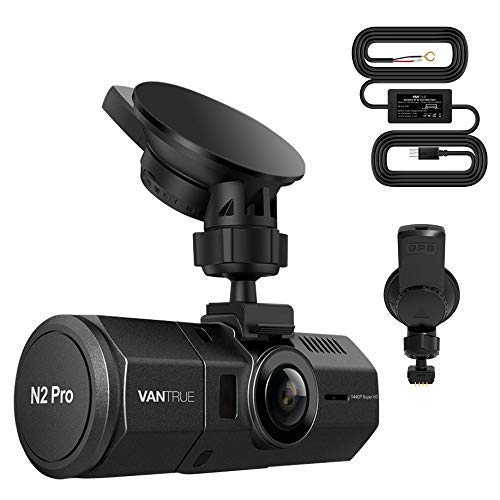 Bundle: Vantrue N2 Pro Dual 1080P Dash Cam + Hardwire Kit+ GPS Receiver Module Suction Cup Mount