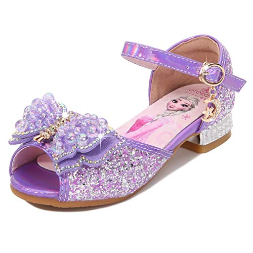 AIYIMEI Girls Princess Shoes Elsa Shoes with Heel Glitter Shoes Kids Crystal Pumps Girls Costume Accessories Shoes Wedding Shoes Purple Blue Pink Golden Silver in Size 23-37 Purple Size: 10 UK Child