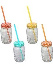Creofant – Juego de vasos de bebida compuesto de 4 vasos con pajitas diseño de lunares, copas de cóctel, fiesta hawaiana, fiesta en el jardín