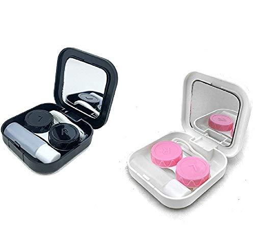 Contact Lens Cases Kits, tragbare Reisen verwendet Kontaktlinsen-Kit, Spiegel, Pinzette, Vorratsflasche, Doppel-Kassette, Verschleiß-Stick, 2 Sätze (schwarz / weiß)